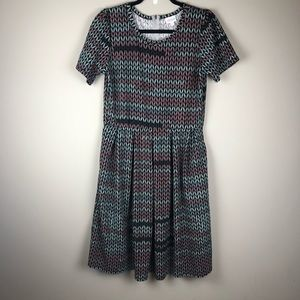 LULAROE Amelia exposed zipper modest pleated dress